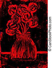 Rosen in Rot und Schwarzmalerei