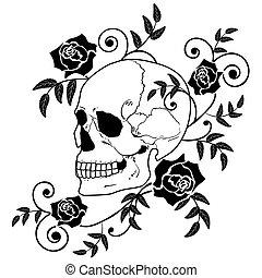 rosen, totenschädel