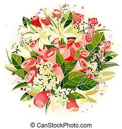 Rosen und Blumen, ein Haufen Illustration