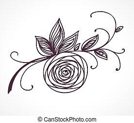 Rosenblüte. Dekoratives Blumendesignelement.