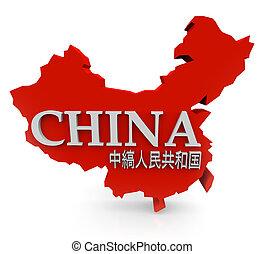 Rot 3D-China-Karte mit Mandarinfiguren-Übersetzung des Namens