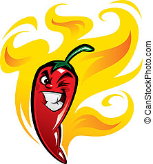 Rot extrem heißer mexikanischer Cartoon Chili Pfeffer Charakter in Feuer lächelnd und ein verschlagenes Gesicht.