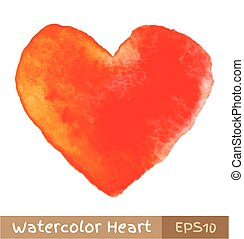Rot - oranges Wasserfarbenherz.