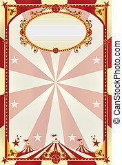 Rot- und Creme-Poster mit großem Top.