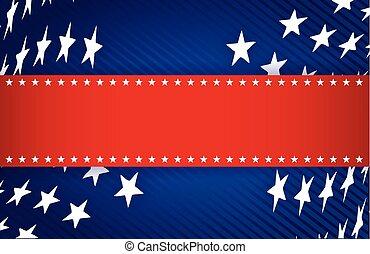 Rot, weiß und blau, patriotische Illustration.