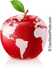 Rote Apfel-Welt-Karte