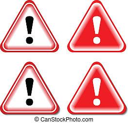 Rote Ausrufezeichen, Gefahrenschilde. Isoliert, Vektor illustriert