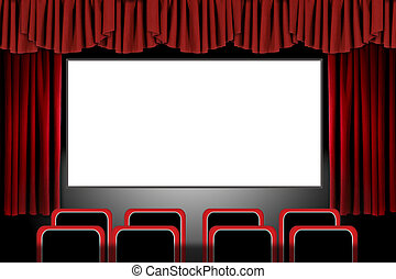 Rote Bühnenbildschirme in einem Kino-Set: Illustration in Photoshop