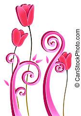Rote Blume und Reben