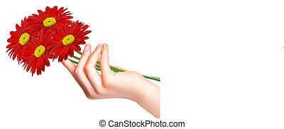 Rote Blumen in der Hand. Vector.