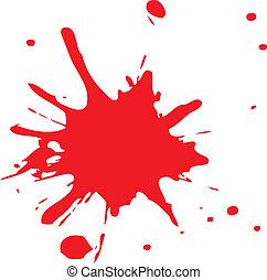 Rote Blutspritzer oder Tinte