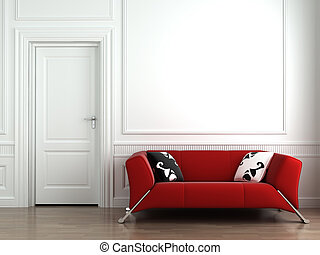 Rote Couch auf weißer Innenwand