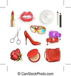Rote Damen Handtasche mit Kosmetik und Accessoires.