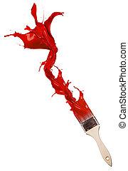 Rote Farbe spritzt aus der Bürste. Auf weißem Hintergrund isoliert