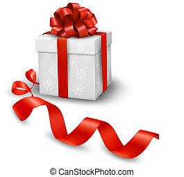 Rote Geschenkdose mit roten Bändern. Vektor Illustration.