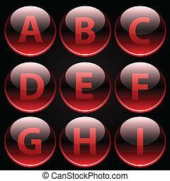 Rote, glänzende Buchstaben (A-I)
