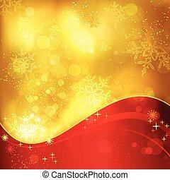 Rote goldene Weihnachtsgeschichte mit Schneeflocken und Lichteffekten.