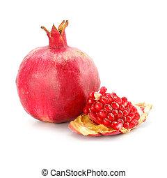 Rote Granatapfelfrüchte, gesundes Essen isoliert