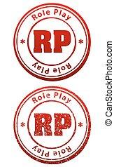 Rote Gummistempel in grunge und festem Stil mit Kaption Role Play und Abkürzung RP.