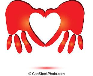 Rote Hände, die ein Herz-Logo machen