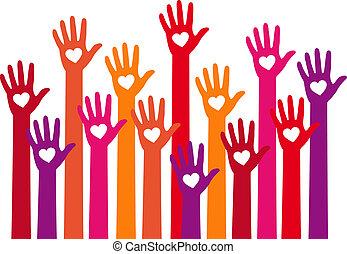Rote Hände mit Herz, Vektor.