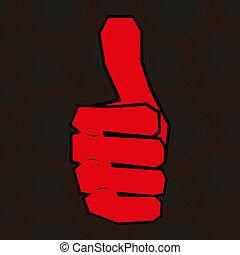 Rote Hand mit Daumen hoch