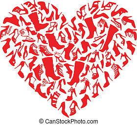 Rote Herzschuhe, Vektor