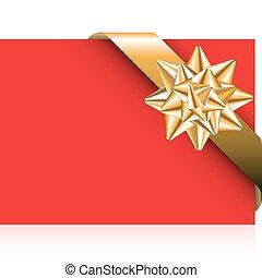 Rote Karte mit goldenem Bogen