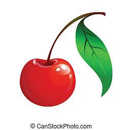 Rote Kirsche mit grünem Blatt