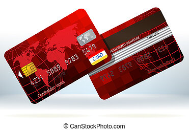 Rote Kreditkarten vorne und hinten. EPS 8