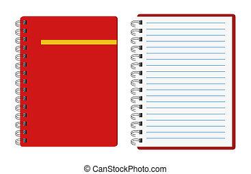 Rote Notizbücher.