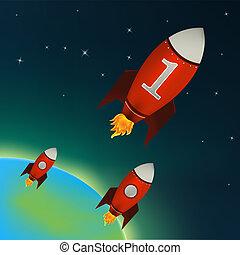 Rote Raketen fliegen im Weltraum
