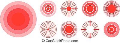 Rote Ringe, um schmerzhafte Körperteile, Hals, Knochen, Muskeln und Kopfschmerzen zu markieren. Medizinischer Vektorsatz der radialen Zieldiagnostik