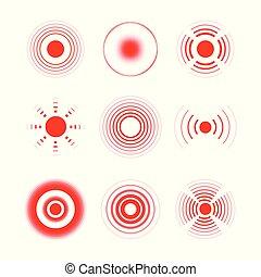 Rote Ringe, um schmerzhafte Körperteile, Hals, Knochen, Muskeln und Kopfschmerzen zu markieren. Medizinischer Vektorsatz der radialen Zieldiagnostik.