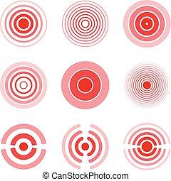 Rote Ringe, um schmerzhafte Körperteile, Hals, Knochen, Muskeln und Kopfschmerzen zu markieren. Medizinischer Vektor eingestellt