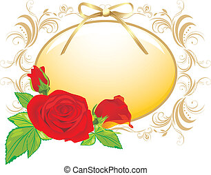 Rote Rosen und Dekorationsrahmen