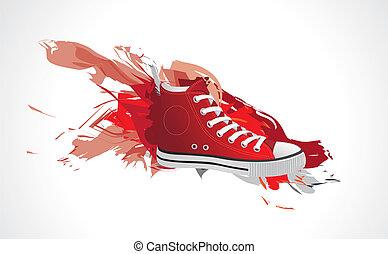 Rote Sportschuhe in Farbe