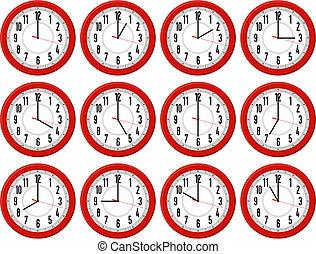 Rote Uhren.