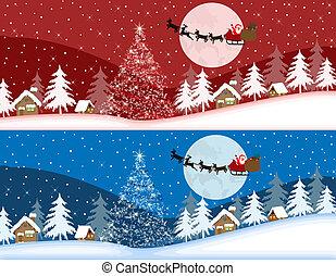 Rote und blaue Weihnachtsbanner