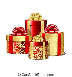 Rote und goldene Geschenkdosen