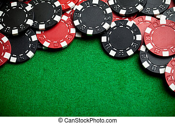 Rote und schwarze Spielchips