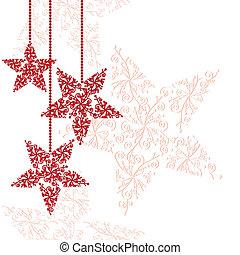 Rote Weihnachtsstern-Ornamente.