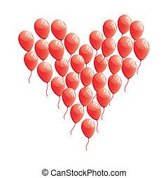 Roter, abstrakter Herzballon