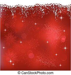 Roter abstrakter Hintergrund mit Sternen und Schneeflocken. Toll für Weihnachten oder Winterthemen.