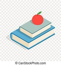 Roter Apfel und zwei Bücher isometrische Ikone.