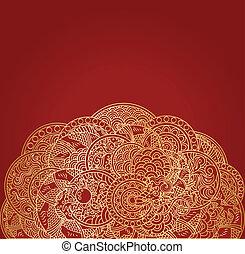 Roter asiatischer Hintergrund mit goldenem Drachenschmuck