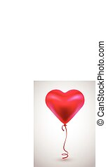 Roter Ballon in Form von Herz auf hellem Hintergrund.