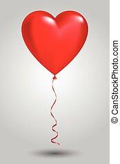 Roter Ballon in Form von Herz auf hellem Hintergrund