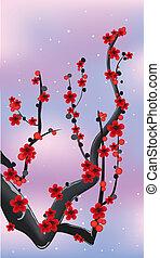 Roter Blumenzweig