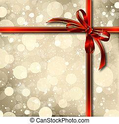 Roter Bogen auf einer Weihnachtskarte. Vector